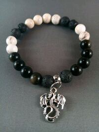 Black beads with a bit of gold beaded diffuser bracelet