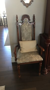 Brown wooden framed white padded armchair x 2 Innisfil, L9S 0L3
