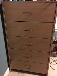 Brown wooden 5-drawer tallboy dresser Toronto, M1S 5G2
