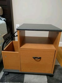 Side table with drawer and folders pocket