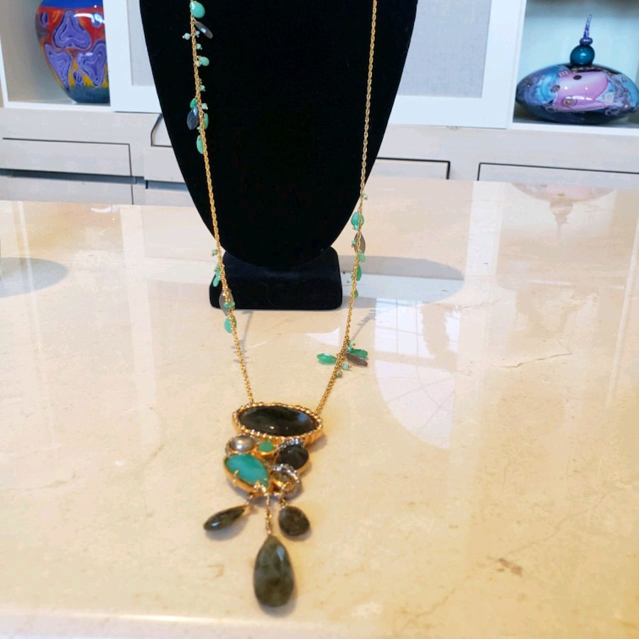 Photo New Alexis Bittar Long Gold plated Green Smoky Quartz Chain Necklace