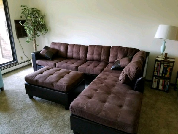 brown fabric tufted sectional sofa