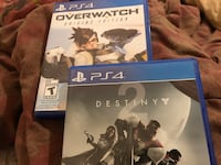 PS4 games overwatch for $40 and destiny 2 for $70 pick up only * PLEASE READ AD* Winnipeg, R2X 0G5