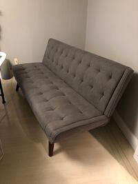 Modern grey tufted sofa bed with wooden legs 3748 km