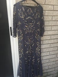 Mother/bride dress 12P t-length 3/4 sleeve bluish/grey w/sequins Plymouth, 48170