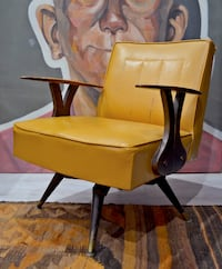 Swivel and rocking MCM chair, wood and vinyl chair.  MONTREAL