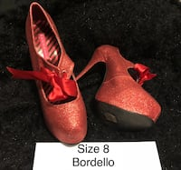 pair of pink suede platform stiletto shoes with box 3727 km