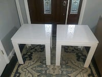 Not IKEA. 2 matching white end, coffee tables 63 km