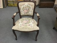 Brown wooden framed white floral padded armchair Fountain Valley, 92708