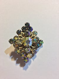 1950s aurora borealis brooch with gold overtone Weaverville
