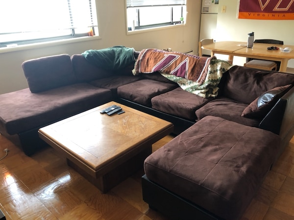 Brown U Shaped Couch