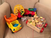 Two fisher price lil people toys and Melissa and Doug blocks