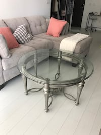 round glass top table with gray metal base Toronto, M5V