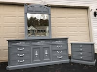 Cortlandt Solid Wood 11 Drawer Long Dresser With Mirror and Nightstand Gray With White Handles  48 km