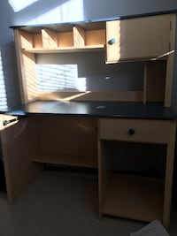 brown and black wooden computer table with hutch Edmonton, T5X 6H5