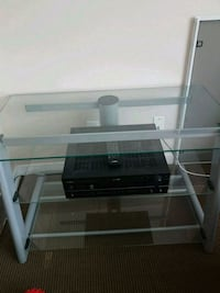 white wooden framed glass top TV stand Calgary, T2E 4H7