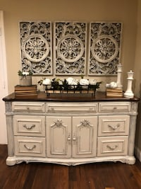 Gorgeous HUGE and TALL buffet/entryway table or could work as a TV Entertainment Center. Sturdy and very heavy. Drawers all open well. Doors open to two open shelves inside for great additional storage. Top has had a repair (done before re-staining it) an Bourbonnais, 60914