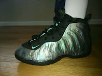 unpaired black and green Nike Foamposite shoe Germantown, 20874