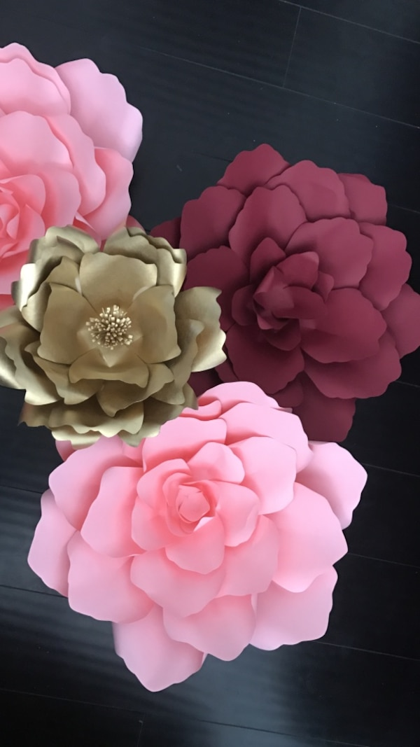 Pink Gold And Red Paper Flowers Decor