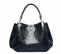 Leather hand bag dark blue and black combination