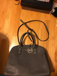 Grey Michael Kors leather 2-way tote bag