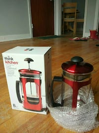red Think Kitchen coffee maker with box