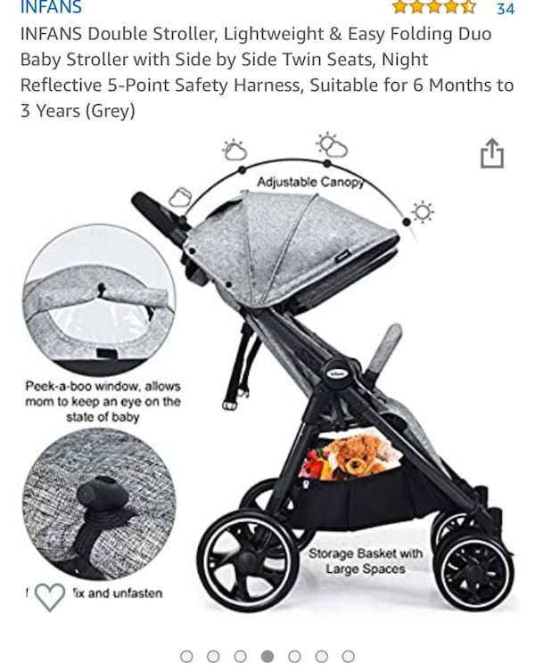 Infans baby double stroller 75c918ed-0720-460c-b1df-3670f0e6eff4
