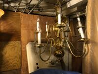 brass-colored and white uplight chandelier Rosedale, 21237