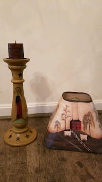 Primitive candle holder and matching lamp shade Remington, 22734