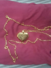 Obey gold heart locket necklace