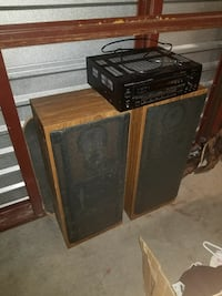 black stereo receiver and two subwoofer speakers Virginia Beach, 23455