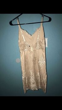 beige and gold sequin spaghetti strap minidress Fresno, 93727