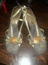 pair of gray leather open-toe heeled sandals Stafford, 22554