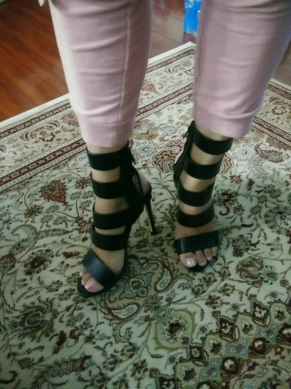 06ceb7a6126f Used pair of black leather open-toe heeled sandals for sale in San Jose -  letgo