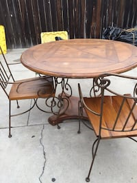 Round brown wooden table with four chairs dining set Compton, 90221