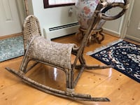 Antique Rocking horse for sale. Handmade from cane material Over 100 years old .  Poolesville