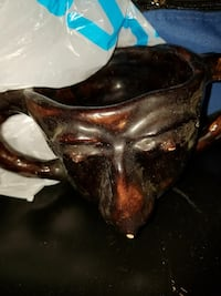 hand made dual face pottery cup Hagerstown