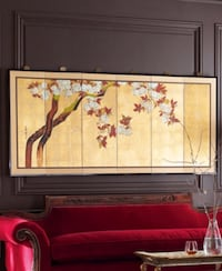 "Gump's Oriental 81"" Plum Blossoms Hand-painted 6-Panel Wall Screen w/Brass Decorative Hardware Washington, 20001"