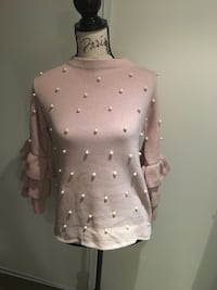 Ladies pink sweater with pearls size small Oakville, L6H 1Y4