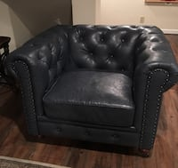 Blue Leather Tufted Sofa Chair Melville, 11747