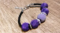 Purple Silver Plated & Austrian Crystal Beads on Braided Black Leather
