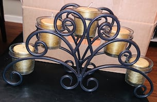 Black cast iron candle holder with gold candles (new)
