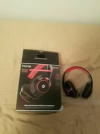 black and red iHome Bluetooth premium wireless headphones with box