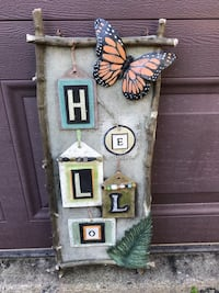 Hello Welcome Painted Sign with Butterfly - Thick / Sturdy Sterling, 20164