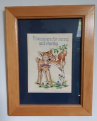 """""""Friends and for caring and sharing"""" 1998 Cross Stitch 12"""" x 15"""" in wood frame Pick-up in Newmarket Newmarket"""