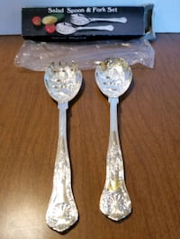 Silver plated salad fork/spoon set.   Cranston, 02920