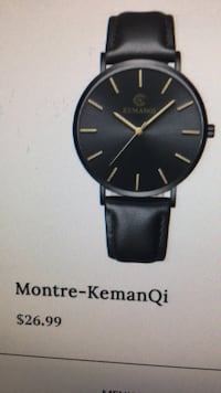round black analog watch with black leather strap Montréal, H4L