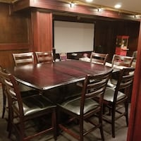 Rectangular brown wooden table with six chairs dining set 72 mi