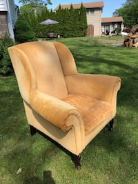 Chenille wingback back chair