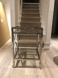 Chrome and Glass End Table with rolling legs Mint Condition  Mississauga, L5L 1T1
